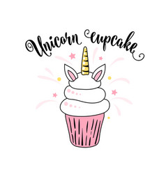 Cute unicorn cupcake with horn and ears on a white vector