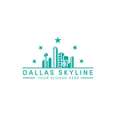 Dallas skyline logo designs with 5 stars logo vector