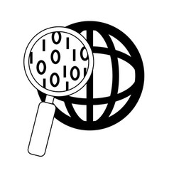 Data analysis magnifying glass world social vector