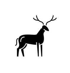 deer black icon sign on isolated vector image