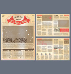 design template of vintage newspaper vector image