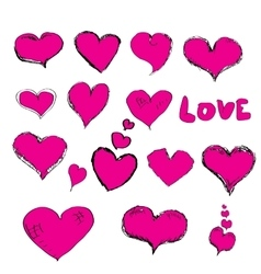 Doddle hearts set hand drawn heart vector