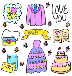 Doodle of wedding party style design vector