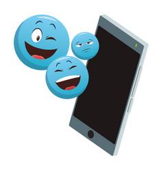 emoticon on smartphone vector image