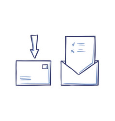 envelope with arrow pointing on closed letter icon vector image