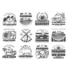 farm dairy and cattle products farming icons vector image