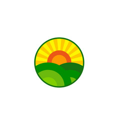 Farm sun logo icon design vector