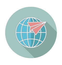 Flat icon with long shadow Earth globe and plane vector