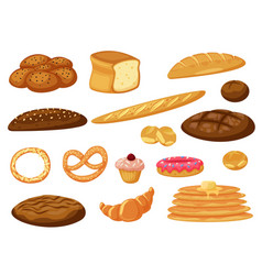 fresh baked bread and pancakes buns pastry icon vector image