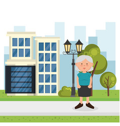 grandmother on the street character vector image