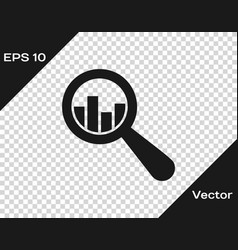 grey magnifying glass and data analysis icon vector image