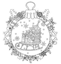 Hand drawn Christmas glass ball fir tree doodle vector image