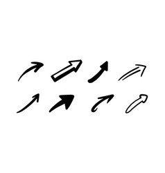 hand drawn doodle arrows black icons set sketch vector image