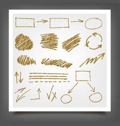 Hand drawn gold design elements vector