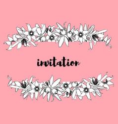 hand drawn vintage floral banner vector image