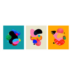 Handdrawn abstract set with colorful shapes vector