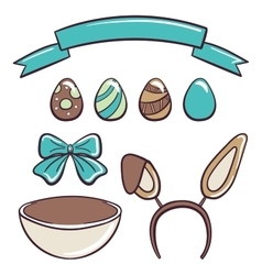 Happy easter day set vector