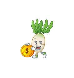 Happy face daikon cartoon character with gold coin vector