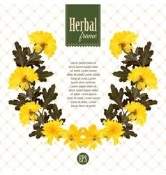 Herbarium wreath of natural yellow flowers vector