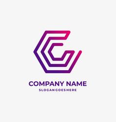Hexagon c letter logo design template vector