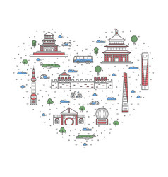I love china poster in linear style vector