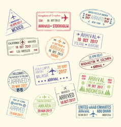 icons travel city passport stamp vector image