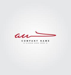 Initial letter au logo - handwritten signature vector