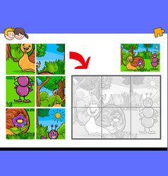 jigsaw puzzles with tiny animal characters vector image vector image