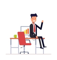 Lazy businessman or manager sitting at the table vector