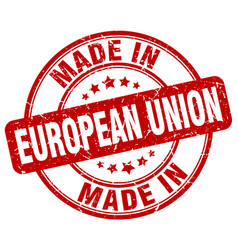 Made in european union red grunge round stamp vector