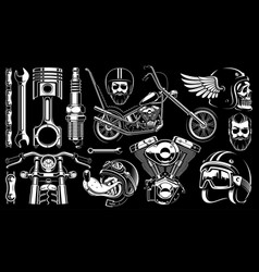 Motorcycle clipart with 14 elements on dark vector
