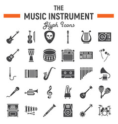 Music instruments glyph icon set audio symbols vector