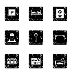 Parking station icons set grunge style vector