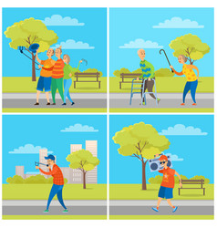 people in city park elderly man and woman set vector image