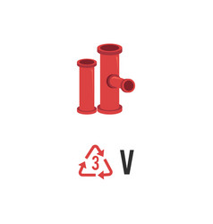 Plastic recycling icon symbol and sign v pvc vector