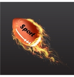 Realistic American Football Ball on fire vector