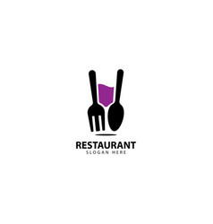 Restaurant logo design with forks spoons and glass vector