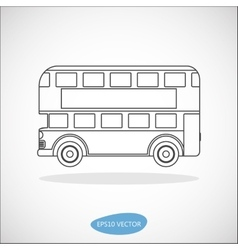 Retro city double decker London bus line icon vector image