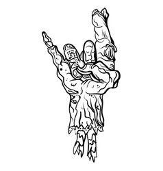 Rock zombie hand heavy metal sign rock gesture vector