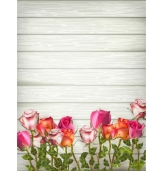Roses on wooden background table EPS 10 vector image