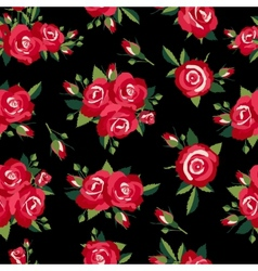 roses pattern on black vector image