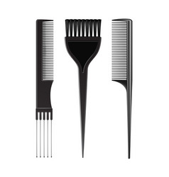 set of black plastic hair brush comb professional vector image