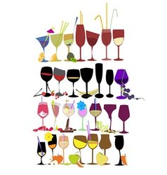 Set of fruit cocktail glasses vector image