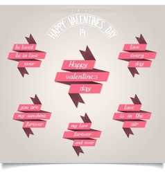 Set of ribbons for Valentines Day vector image
