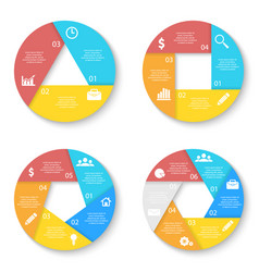 Set template for circle diagram options vector
