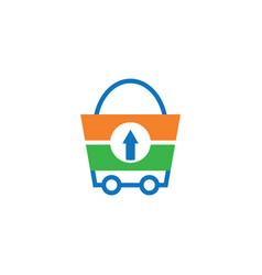 shopping bag trolley logo vector image
