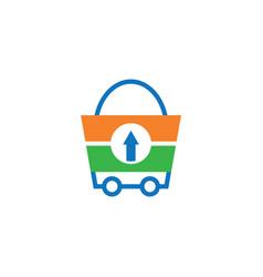 Shopping bag trolley logo vector