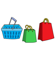 Shopping basket and bags vector
