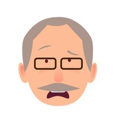 sorrowful face emotion on elderly man head vector image
