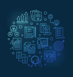 Strategic planning process blue round vector